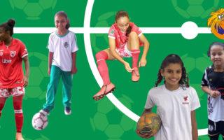 Montagem mostra cinco meninas jogadoras de futebol. Arte: Suzana Obara