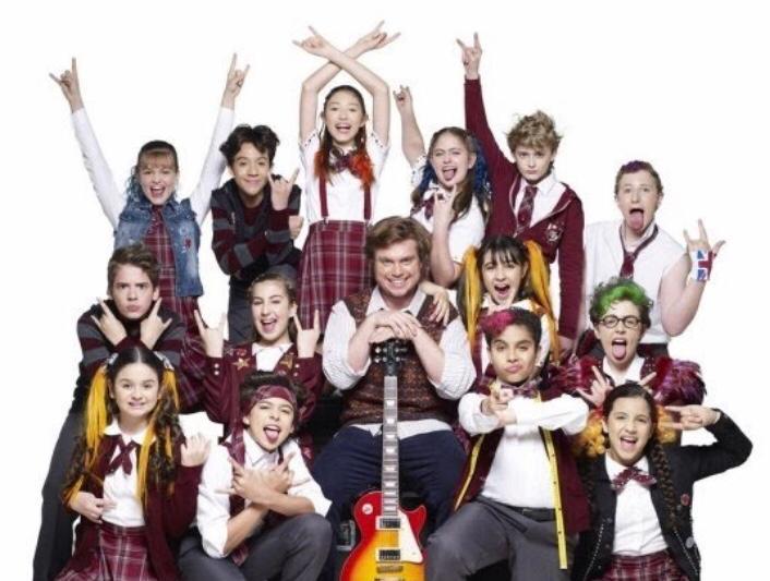 Dewey e seus alunos. Foto: Escola do Rock o Musical/ Divulgação.
