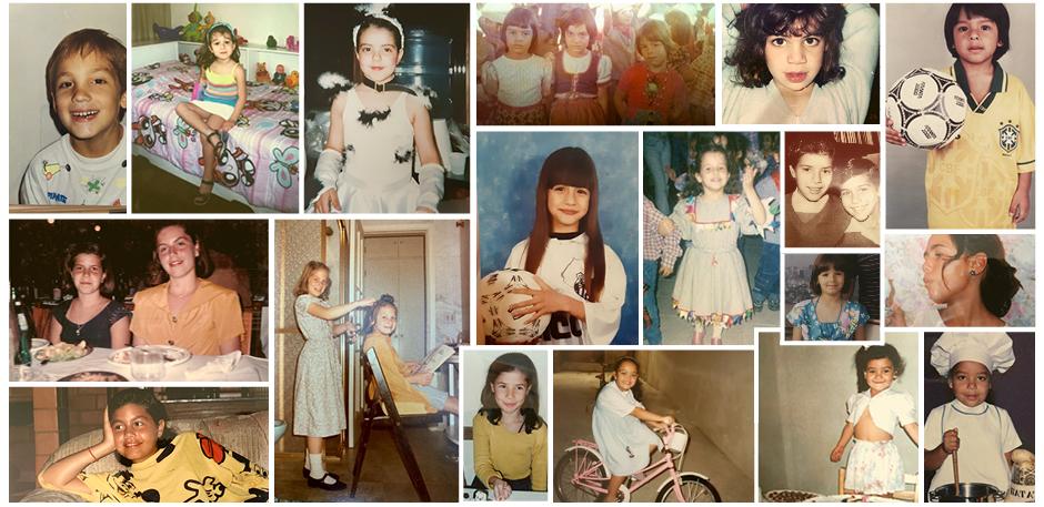 Fotos de infância da equipe do Joca. Arte: Ana Beatriz Pádua