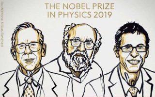 Da esquerda para a direita, os físicos James Pebbles, Michel Mayor e Didier Queloz. Foto: Twitter/ Reprodução.