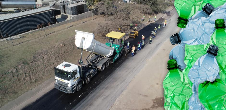 400 metros de uma estrada da África do Sul foram pavimentados usando garrafas de plástico. Foto: Shisalanga Construction/ Divulgação.