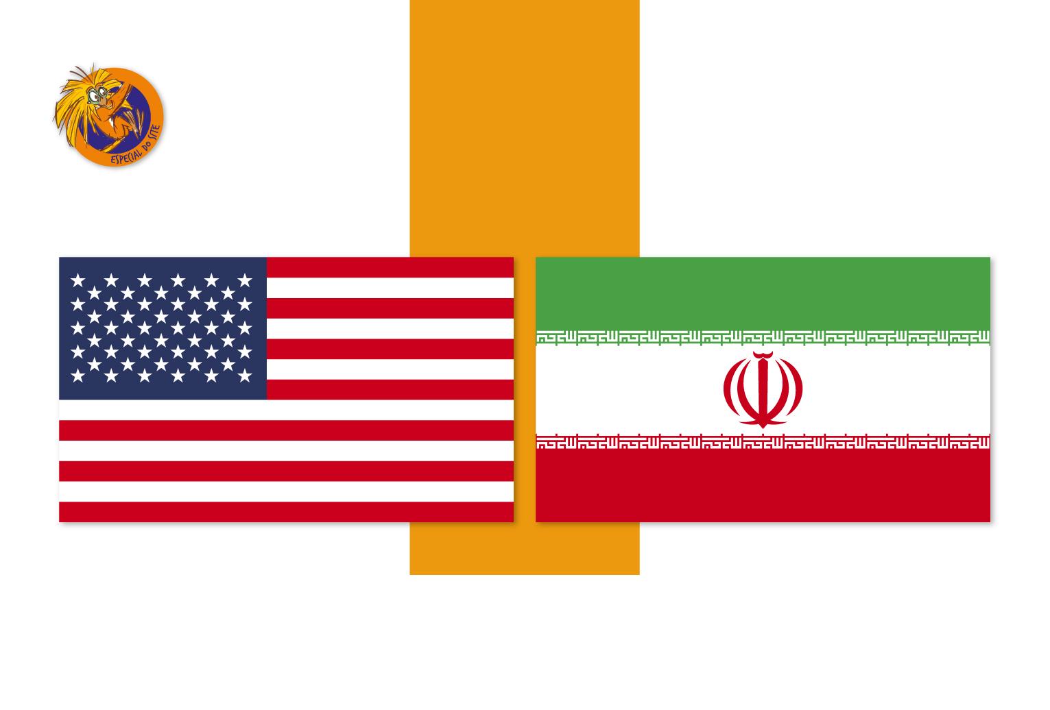 EUA e Irã possuem um relacionamento difícil há muito tempo, mas ele ficou ainda mais complicado este ano. Arte: Beatriz Lopes